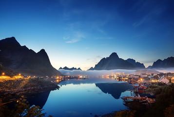 Garden Poster Scandinavia mist in sunset time Reine Village, Lofoten Islands, Norway