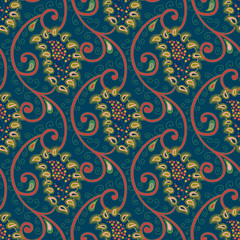 Seamless vector floral paisley pattern