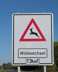 Achtung Wildwechsel Schild