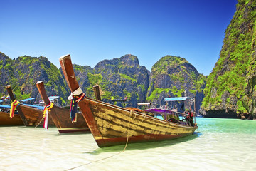 Traditional wooden boat at Phi Phi island