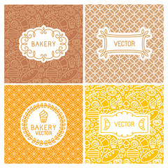 Vector set of seamless backgrounds with frames and labels