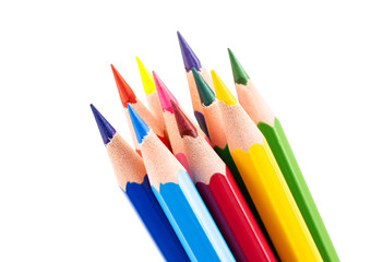 Colourful pencils isolated on a white background
