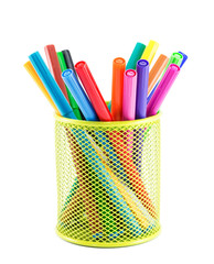 Colourful markers in holder