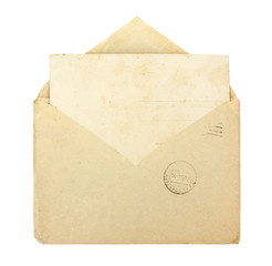 Old envelope with blank card