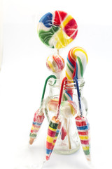 Vintage lollipops in a glass jar