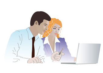 Businessman and businesswoman with a laptop