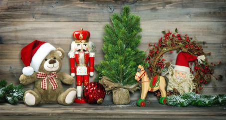 Vintage Christmas decoration Teddy Bear Rocking Horse Nutcracker