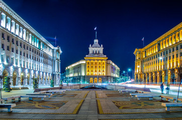 night view of the architectural ensemble of three Socialist Classicism edifices in central Sofia, the capital of Bulgaria Wall mural