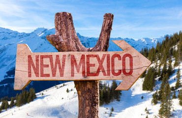 New Mexico wooden sign with winter background