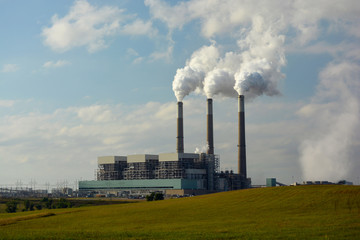 Coal Fired Power Plant Emits Carbon Dioxide from Smokestack Towers