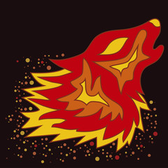 Tattoo Fire Wolf, vector illustration