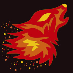 Tattoo Flame Wolf, vector illustration