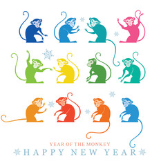 Multicolored monkey. 2016. Year of the Monkey. Happy New Year.