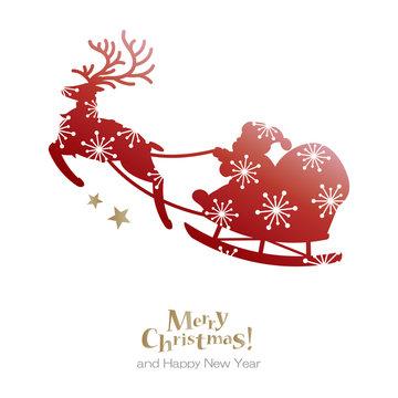 Santa and reindeer with snowflakes