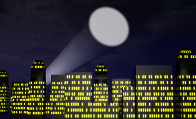 Cartoon city at night with spotlight or bat signal