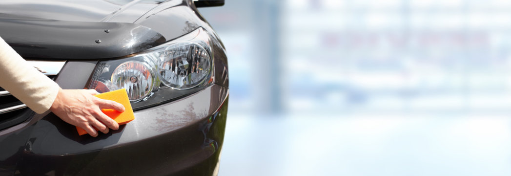 Car with wax and polish cloth.