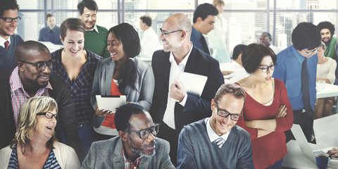 Group of Business People Discussing in the Office Concept