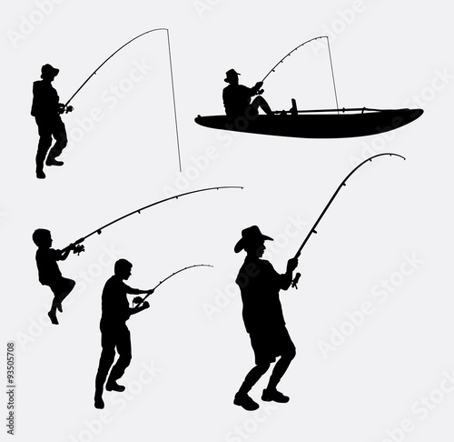 f496f108619 Fishing people silhouettes. Good use for symbol, logo, web icon, mascot, or  any design you want. Easy to use.