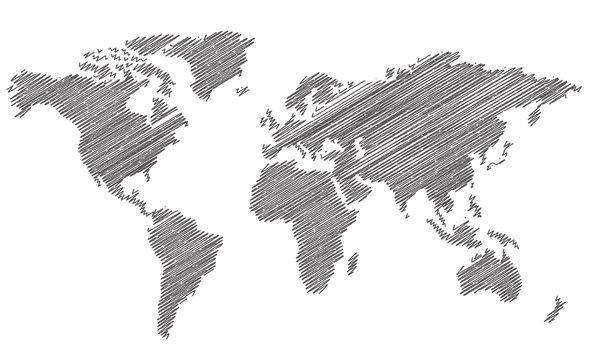 World map sketch Vector
