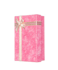 Pink gift box with ribbon and bow isolated on white background
