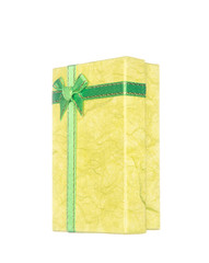 Yellow gift box with ribbon and bow isolated on white background