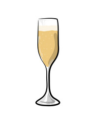 Champagne Glass, a hand drawn vector illustration of a glass of champagne.