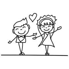 hand drawing cartoon happy couple wedding