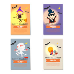 set of Halloween party background cartoon character