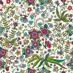 Cute seamless pattern with flowers, stars and insects