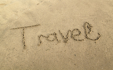 The Word 'travel' Written in Sand Background