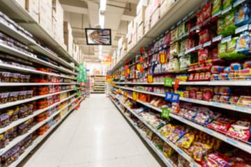 supermarket aisle,  fuzzy background。