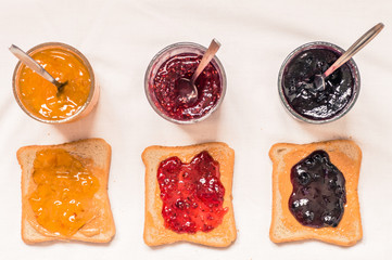 Toast sandwiches with peanut butter and jam