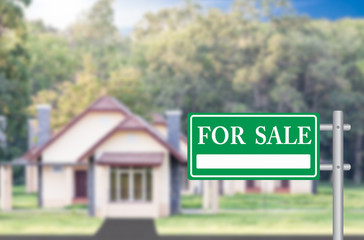 Home For Sale with green for sale sign