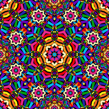 bright circular seamless kaleidoscope pattern