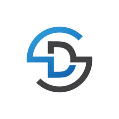 DS or SD letters, blue circle S logo shape