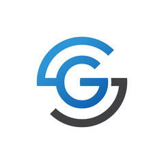GS or SG letters, blue circle S logo shape