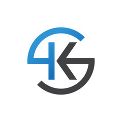 KS or SK letters, blue circle S logo shape