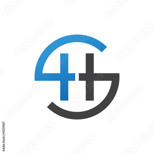 hs or sh letters blue circle s logo shape stock image and royalty