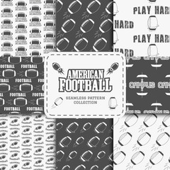 College american football team seamless pattern collection in