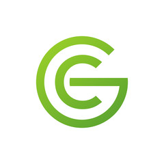 CG or GC letters, green circle G logo shape