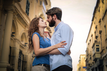 Tender couple kissing