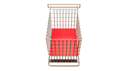 Shopping cart trolley in red on white background completely empty and isolated