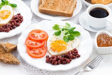 delicious breakfast for Valentine's Day, horizontal