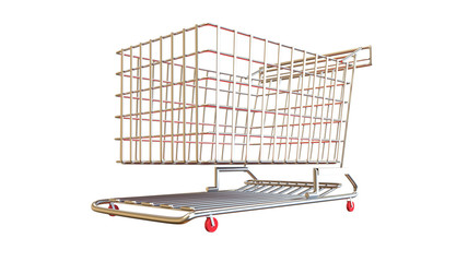 Shopping trolley cart for sale and other uses completely isolated and empty on white background