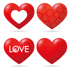 Vector Lovely Red Heart Collection