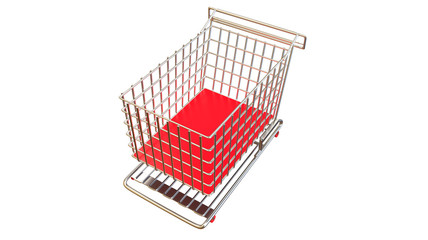 Shopping cart from aerial view in red on white background