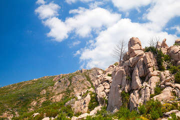 Landscape of South Corsica with rocky mountains