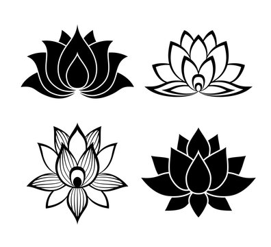 Lotus flower signs set