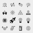 Brainstorming black icons set. Creative brain idea concepts