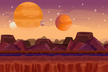 Cartoon sci-fi  game vector seamless background. Alien planet